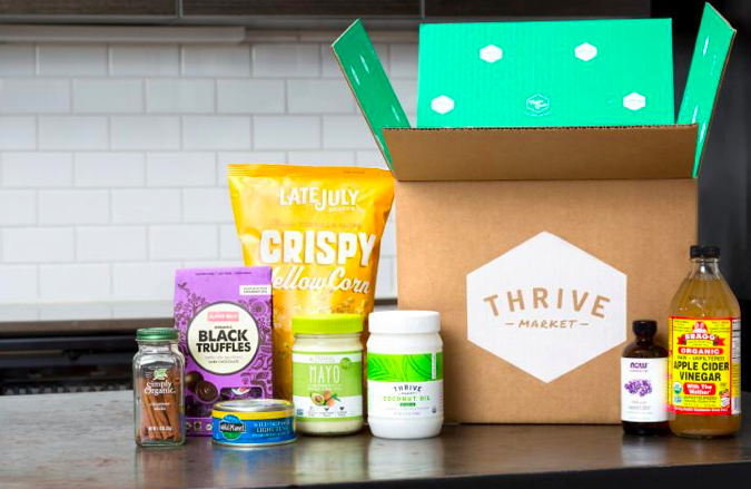 A box of products from Thrive Market.