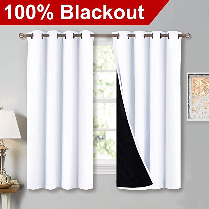 NICETOWN White Blackout Lined Curtains