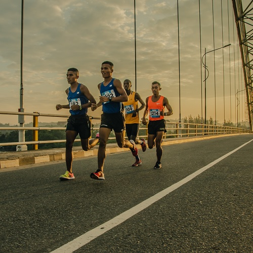 A group of athletes running in a marathon.