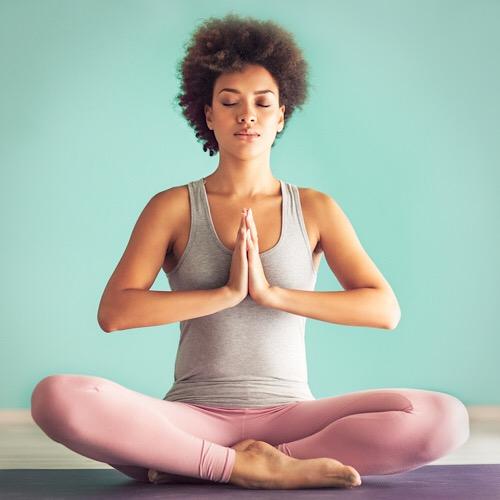 A woman doing a yoga.