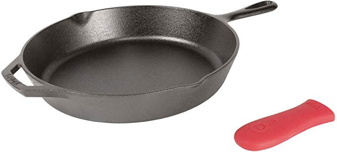 Lodge Iron Skillet with Red Silicone Hot Handle Holder, 12-Inch, use this for a healthy meal prep.