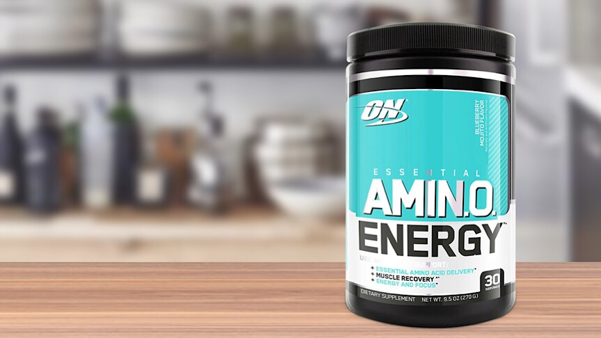 A jar of Optimum Nutrition Essential Amino Energy.