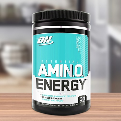 A jar of Optimum Nutrition Essential Amino Energy.