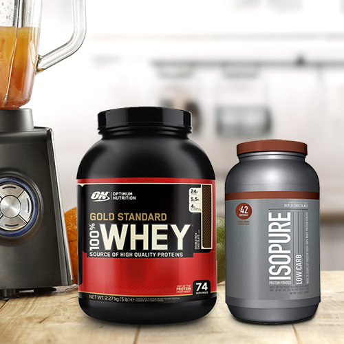An image of the isopure and gold standard protein powder on a table.