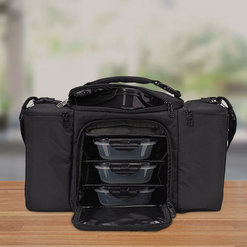 stealth black colored 6 pack fitness bag