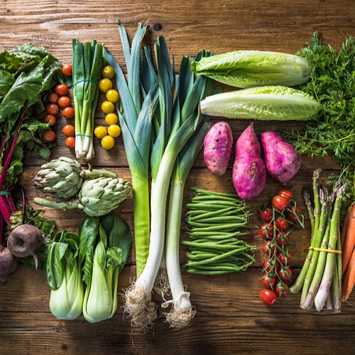 Different vegetables arranged on the table.