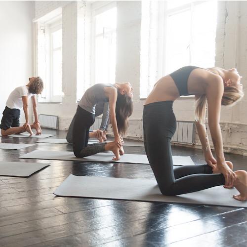 Three fit woman having a yoga class.