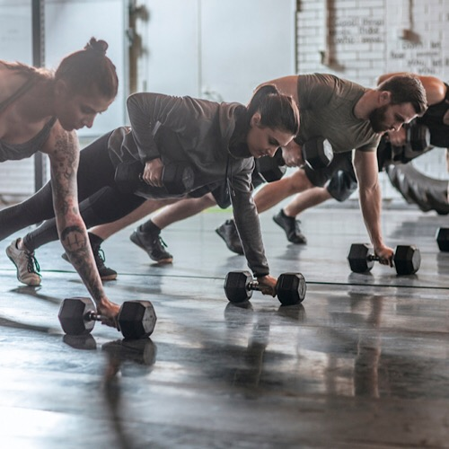A group doing dumbbell row
