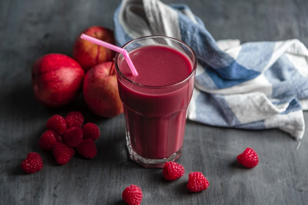 A glass of mixed berries healthy smoothie.