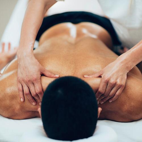 A man having a back massage.