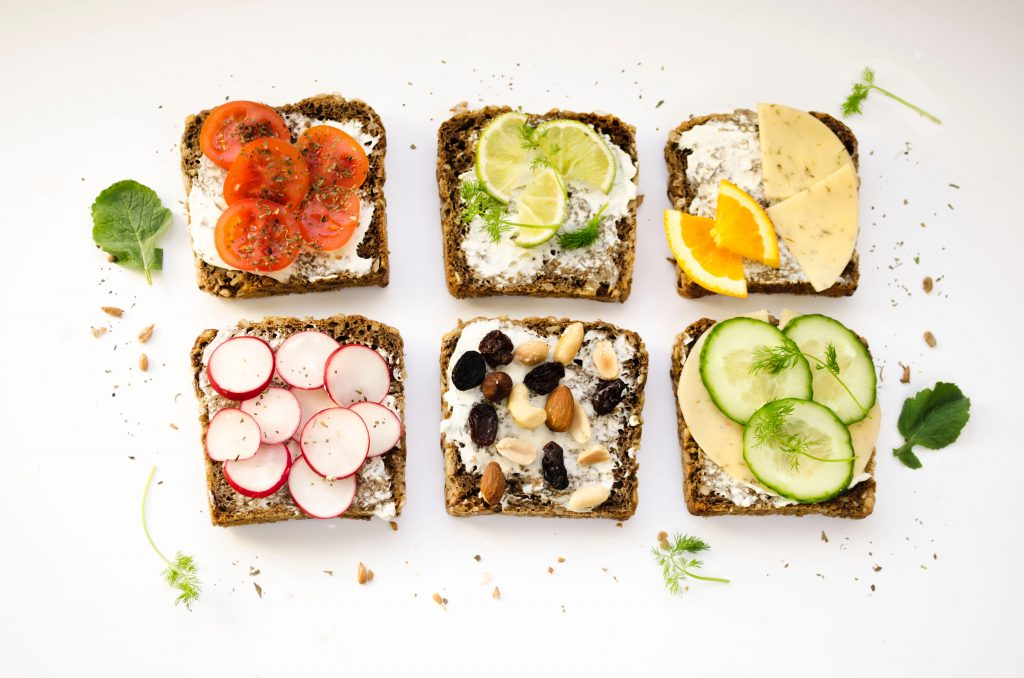 A variety of open-faced sandwiches.