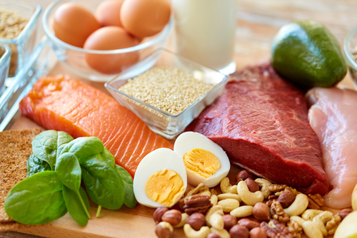 meat, fish, eggs, and legumes