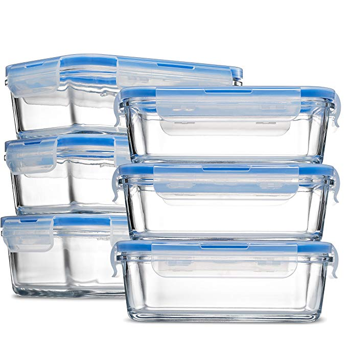 Glass Meal Prep Food Storage Containers - (6-Pack 28 Oz.)