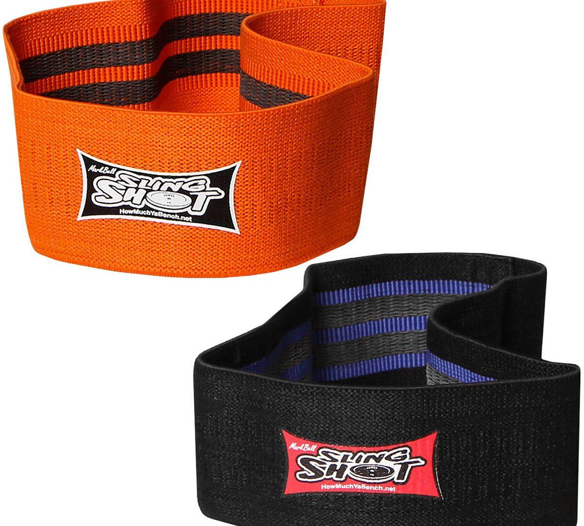 An orange and black colored slingshot band.