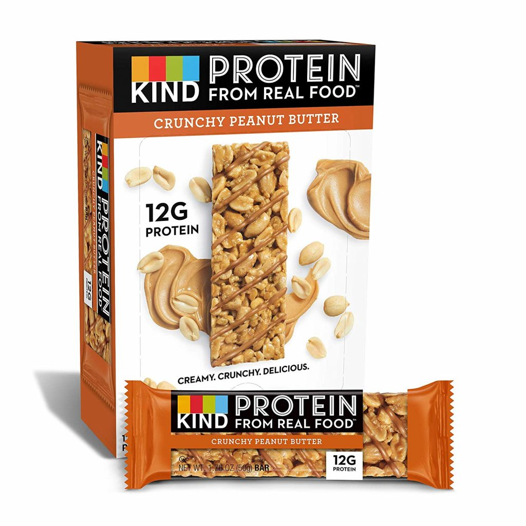 A box of KIND crunchy peanut butter Protein bars