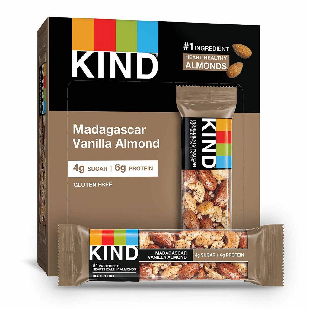 A box of KIND Madagascar Vanilla Almond protein bars.