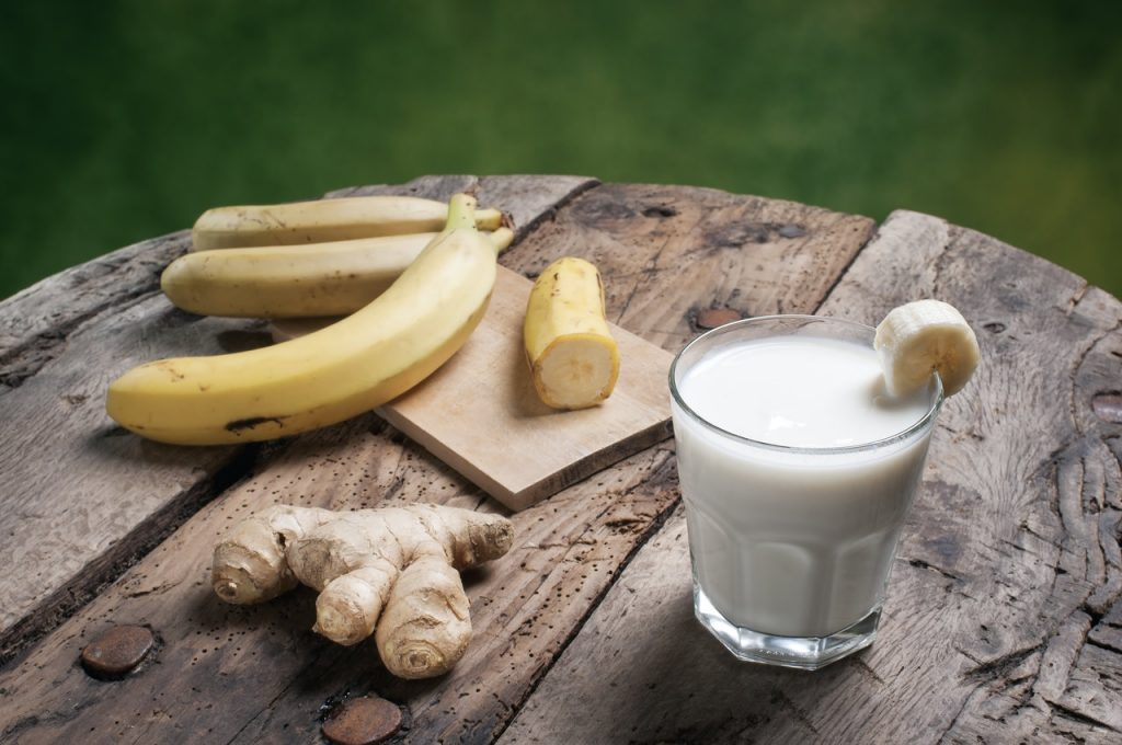 Bananas, milk, and ginger to reduce bloating.