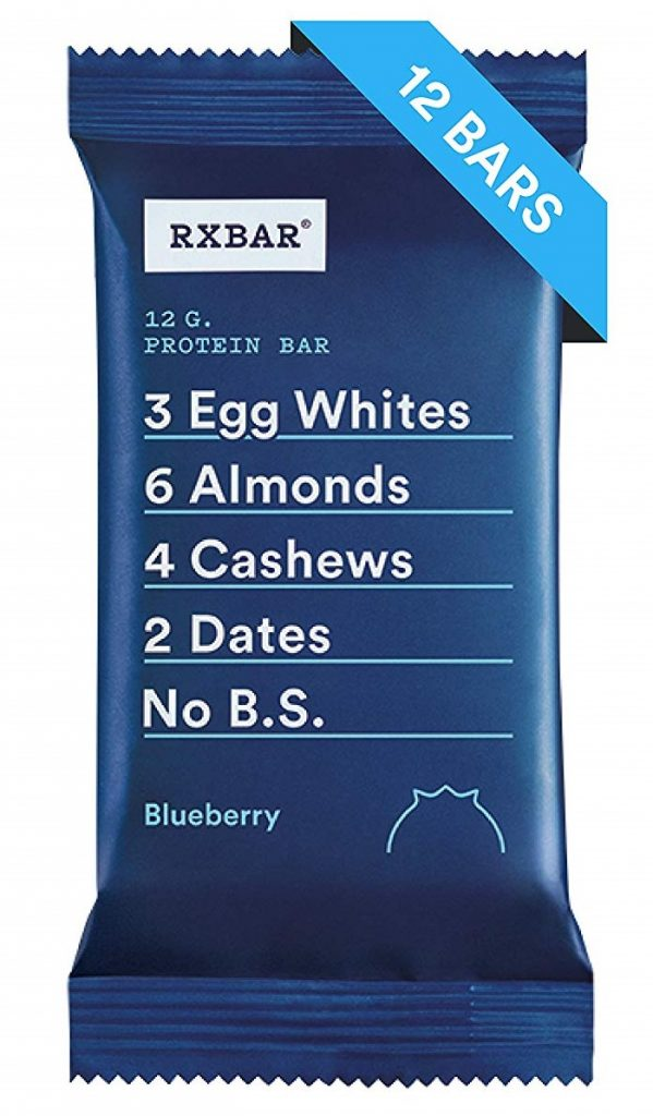 a pack of rxbar blueberry protein bar