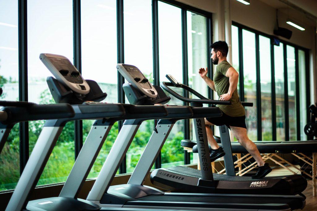Man running on a treadmill.