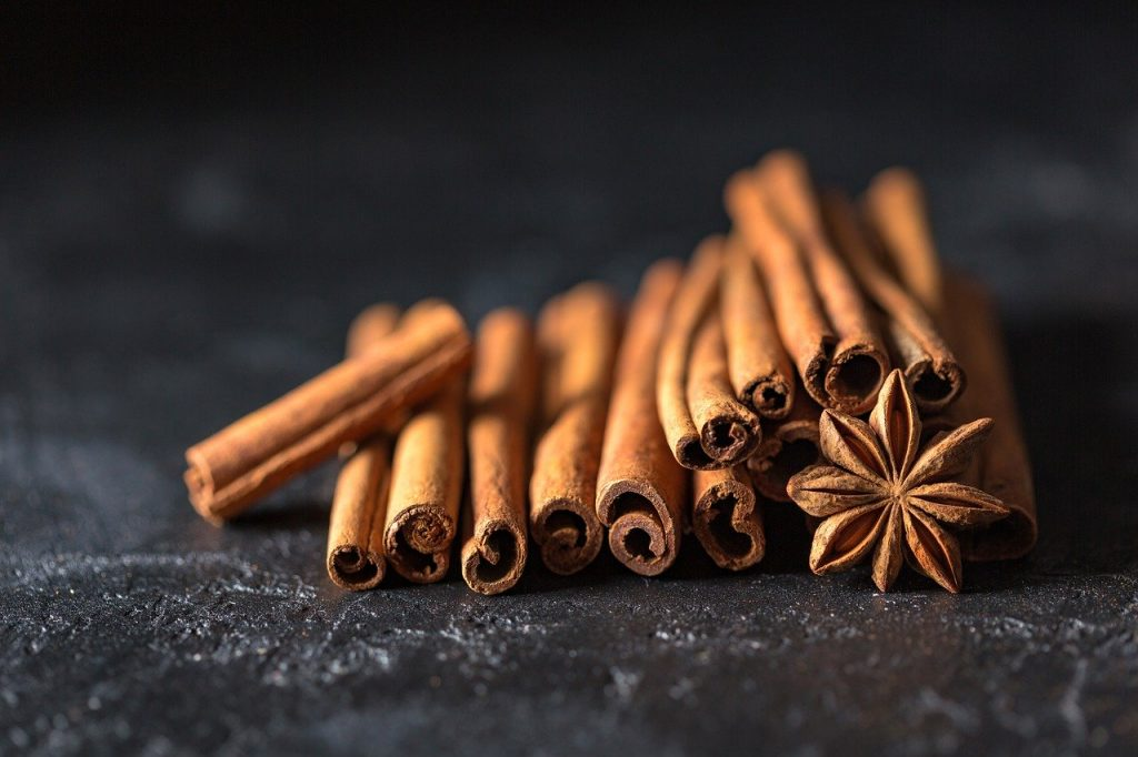 A close up of cinnamon sticks and star anise.