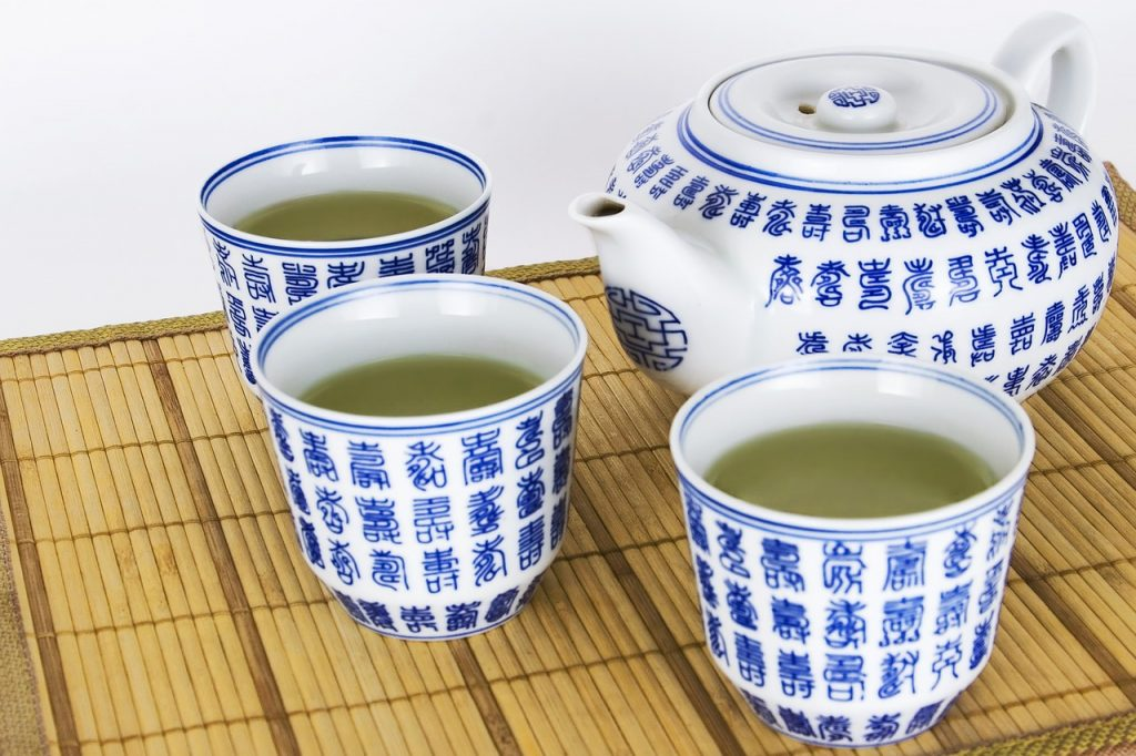 Three cups of green tea.
