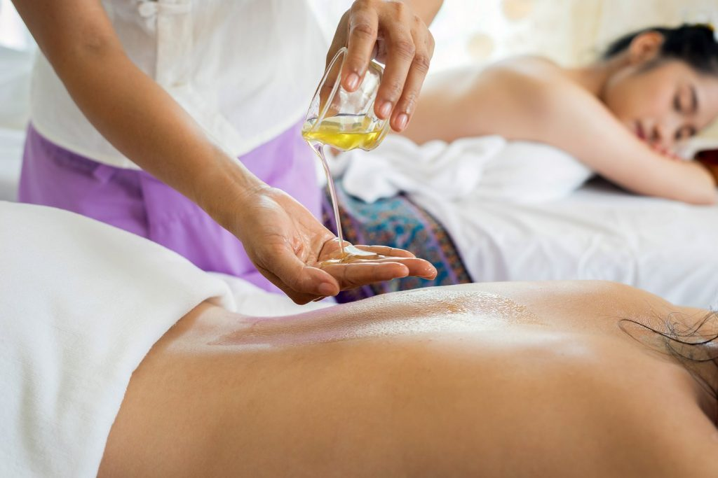 Two women getting massages.