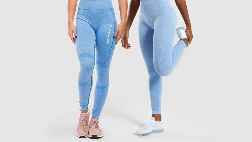 Two women wearing seamless leggings.