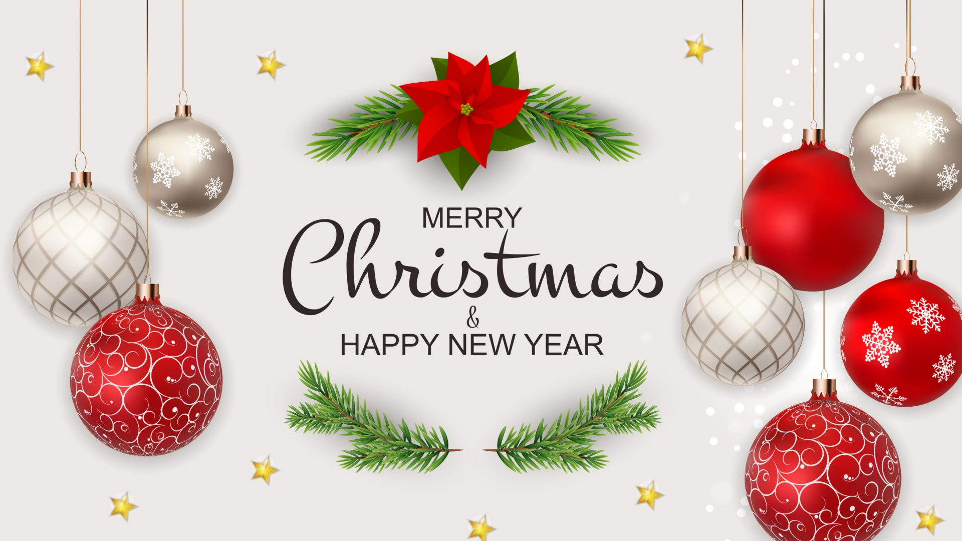 A banner with some Christmas ornaments design that says Merry Christmas and a Happy New Year