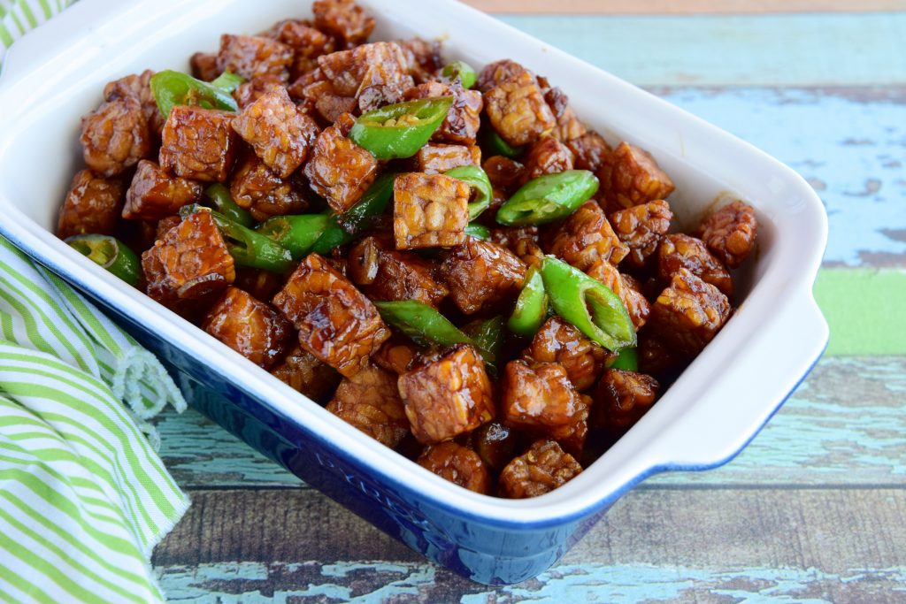 A bowl of pan-fried tofu.