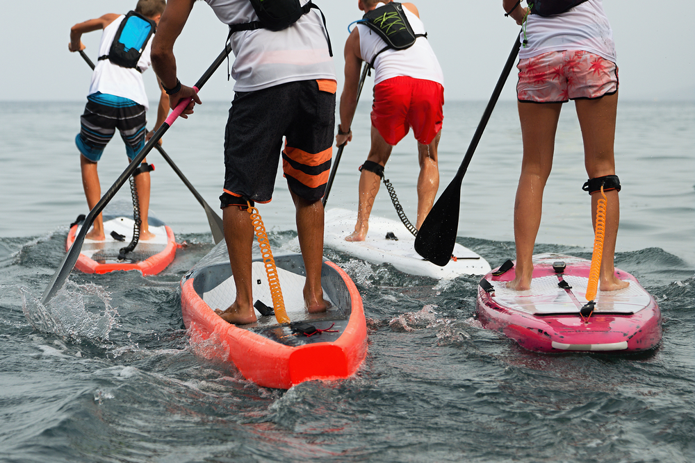 Stand up paddle group on the sea.