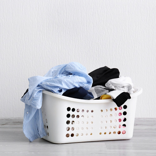A basket of dirty laundry.