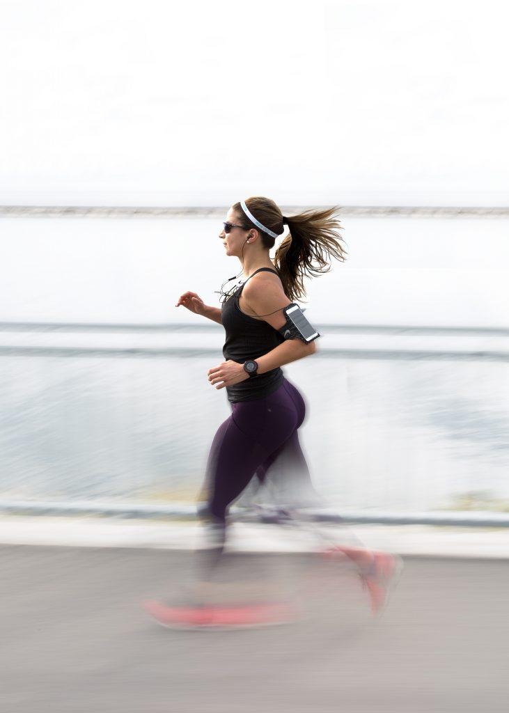 Women running outside.