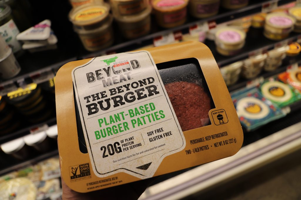 Beyond meat, plat-based burger patties.