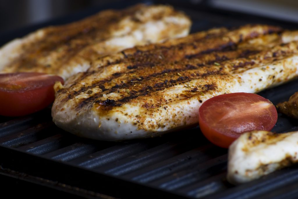 Grilled chicken and tomatoes.
