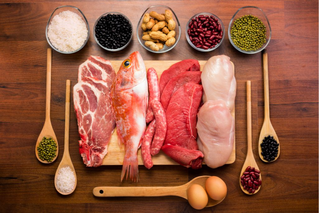 Some meat, fish, eggs, beans and nuts as healthy protein sources.