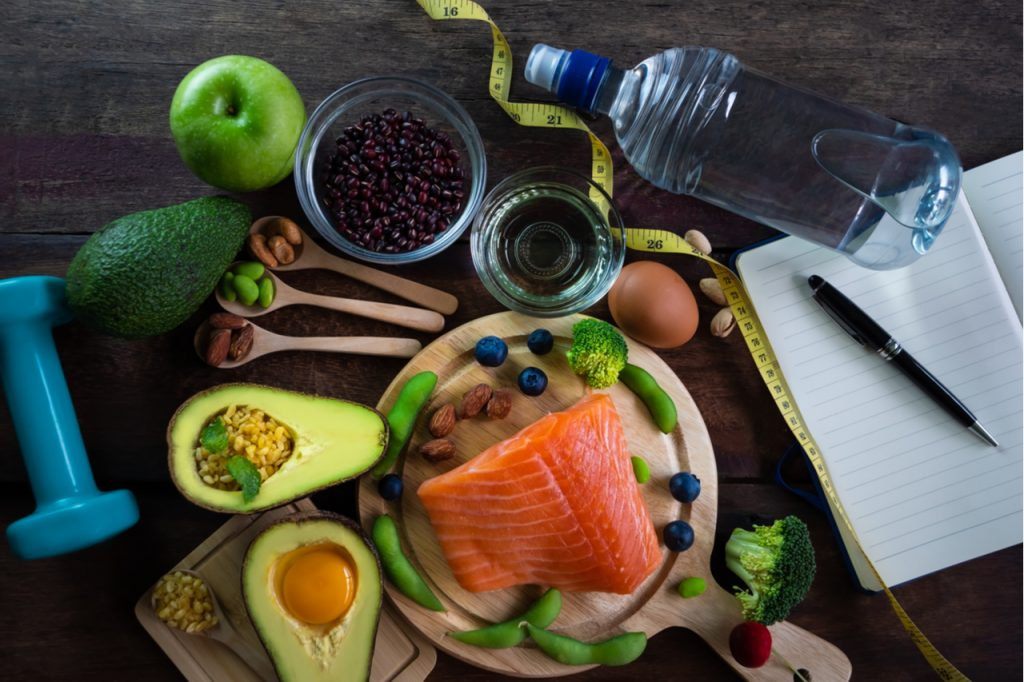 A selection of keto friendly foods for a diet plan.