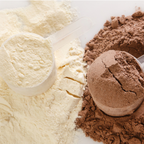 Vanilla and Chocolate protein powder in measuring scoop.