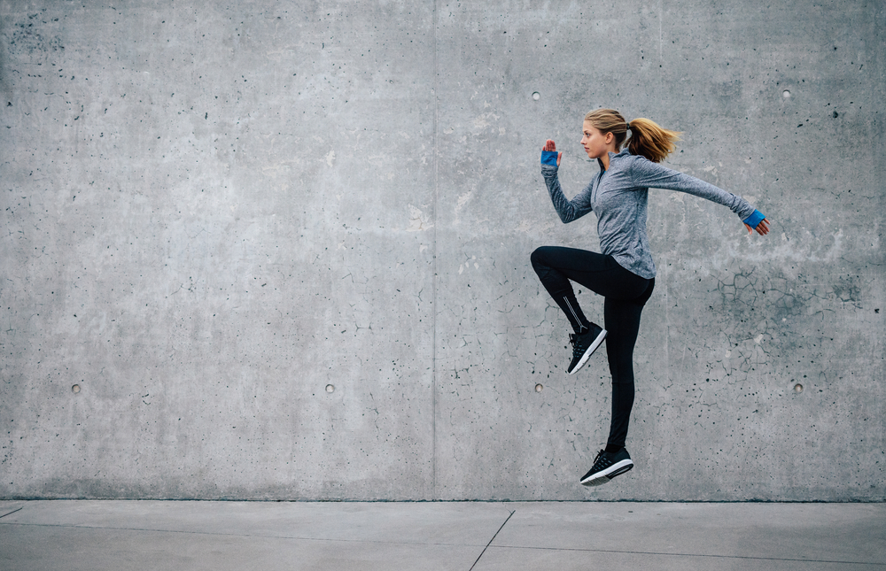 Woman jogging outside.