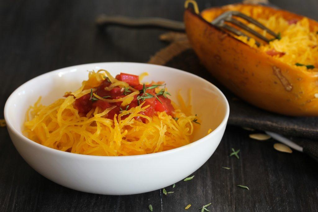 Spaghetti squash in a white bowl.