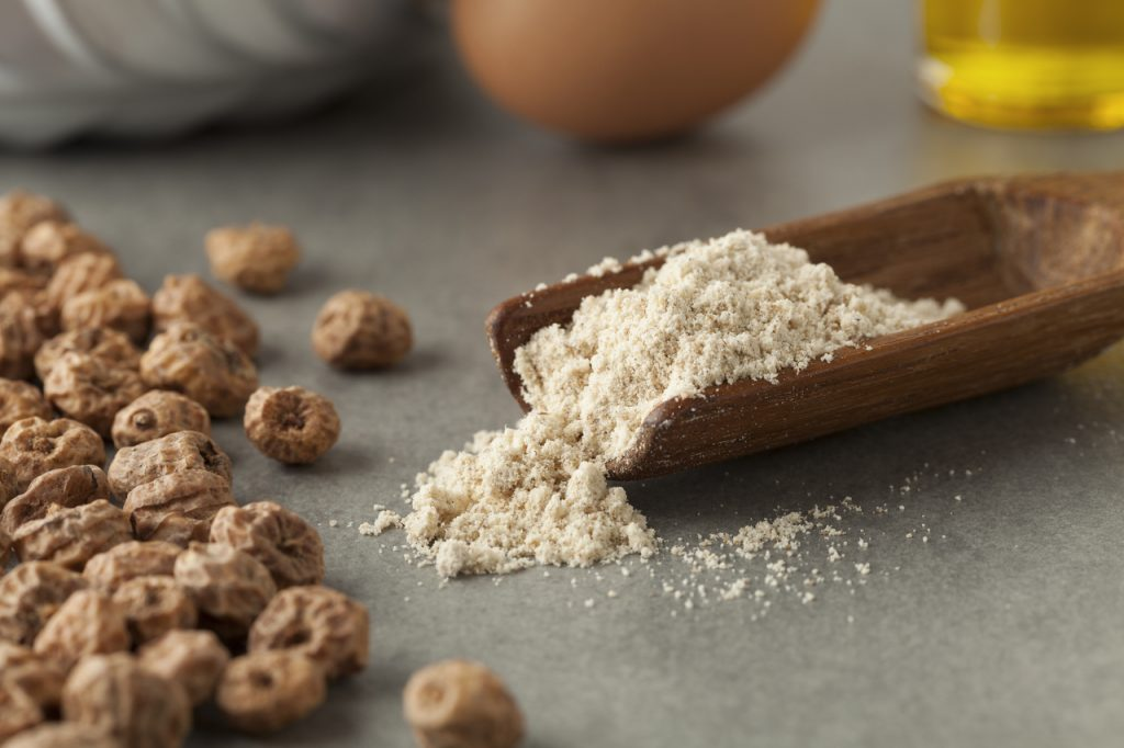Tiger nut flour in a measuring spoon with scattered shelled tiger nuts on grey table.