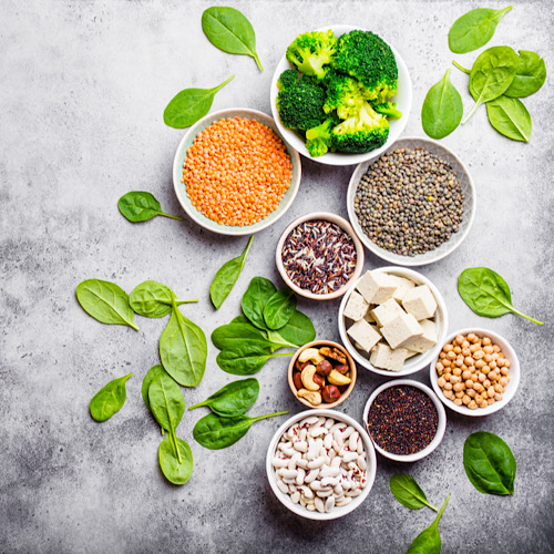Top view of different vegan protein sources