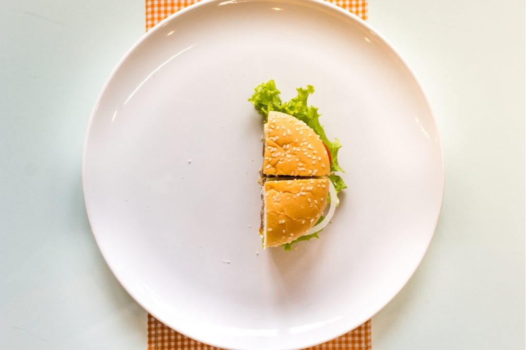 Half a burger on a white ceramic plate.