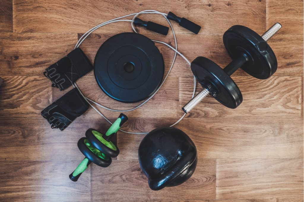 An image of workout equipment for home including powerblock adjustable kettlebell.