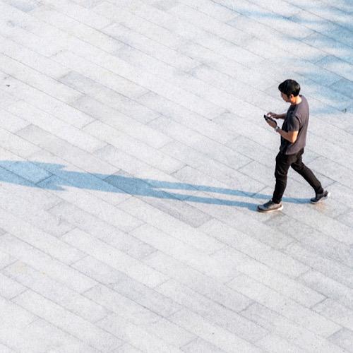 A man walking alone.