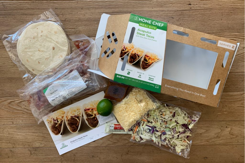 Home Chef Grocery Store Meal Box of Acapulco steak tacos.