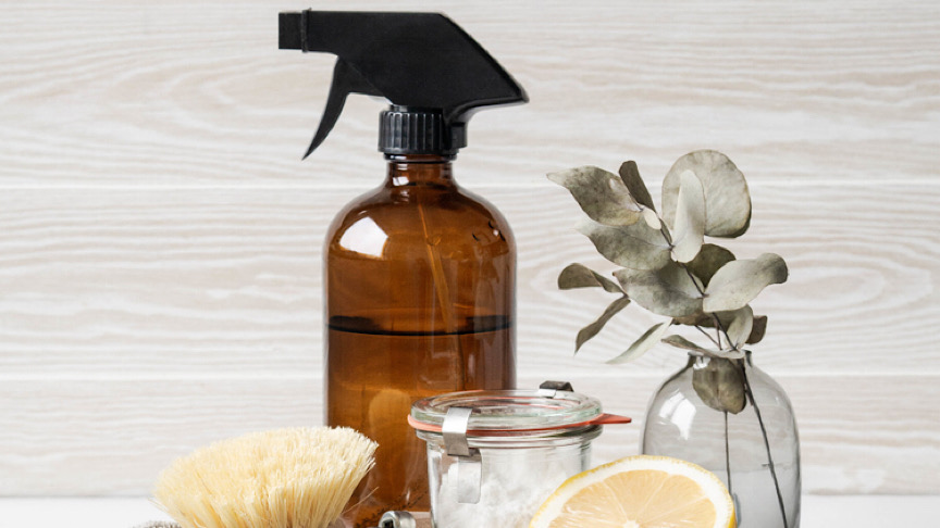 Various items and ingredients for eco home cleaning