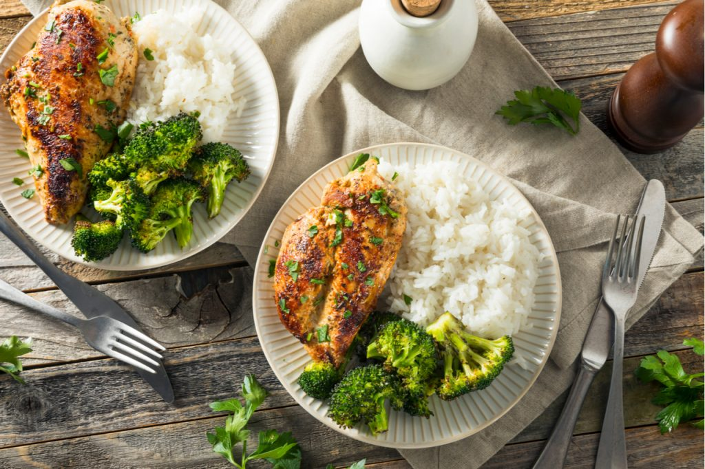 Healthy Homemade Chicken Breast and Rice with Broccoli.