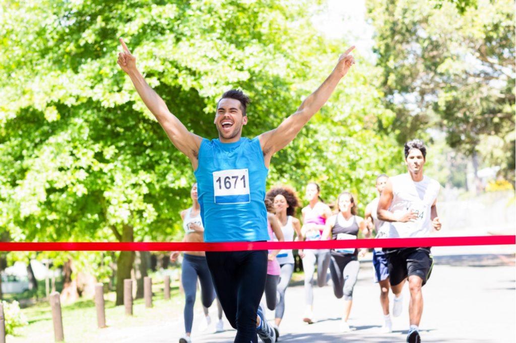 Man finishing the marathon.