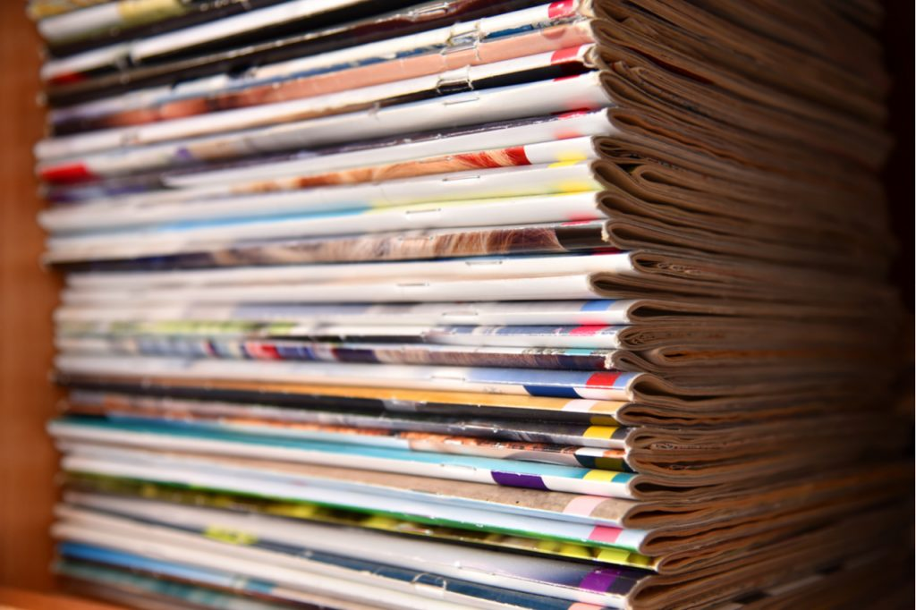 A stack of many magazines.