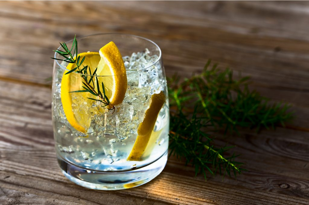 Gin & tonic drink with lemon and ice on a old wooden table.